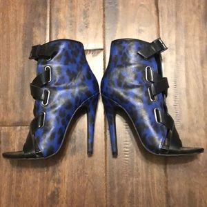 Blue leopard booties